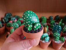 Cactus flower made of stone, rock cactus, handpainted stone cactea, fake flower