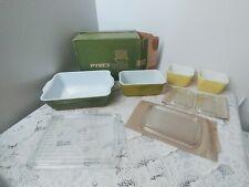 Pyrex 4 pc.Verde Oven Refrigerator Freezer Set New Unused Original Box Vintage