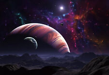 "CHOIS WM9007 Space Wall Mural Planet Satellite Light Stars wallpaper 100"" x 145"""