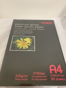 A4 Scribe Premium Glossy Photo Paper   50 sheets each pack   230 gsm
