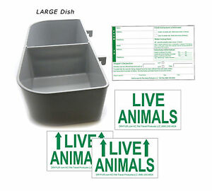 Standard Airline Kennel Travel Kit - LARGE Food Water Tray - Live Animal Labels