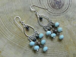 Faceted Amazonite & Wood Beads Sterling Silver Chandelier Earrings