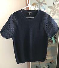 J. Crew Eyelet Sleeve Sweater size Large Navy Lace Blouse Shirt Knit Top