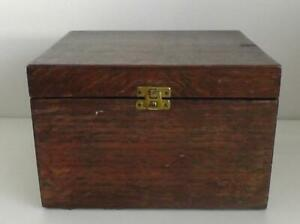 Vintage Oak Sewing Box with Contents