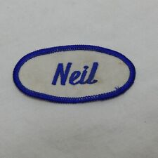 "CUSTOM EMBROIDERED NAME TAG SEW ON PATCH ""NEIL"""