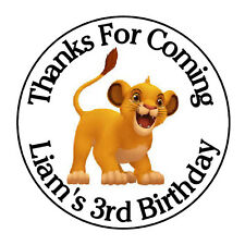 """24 PERSONALIZED SIMBA BIRTHDAY PARTY FAVOR LABELS STICKERS 1.67"""""""
