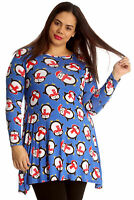 New Ladies Plus Size Top Penguin Christmas Print Womens Swing Dress Long Nouvell