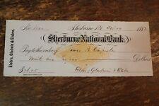 BANK CHECK SHERBURNE NATIONAL BANK NEW YORK 1882 NO ENGRAVING