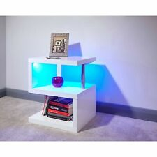 547884ae7ce5b White High Gloss Side or Lamp Table Night Glow LED Lights Cylindrical Leg