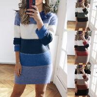❤️Women Knitted Long Sleeve Jumper Mini Dress Autumn Winter Bodycon Sweater Tops