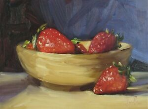 Oil Painting; Strawberries in a bowl. Original impressionist still life.