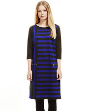 Polyester Crew Neck Striped Petite Dresses for Women