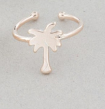 gold toe ring Palm tree rose