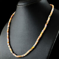 69.00 Cts Earth Mined Pink Australian Opal Faceted Round Shape Beads Necklace