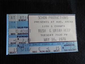 vintage Concert ticket stub RUSH & URIAH HEEP May 16 1978 Aud arena Denver colo