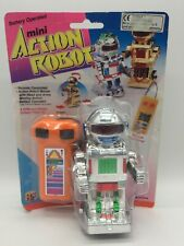 Vintage Toy Mini Action Robot Silver Remote Control Controlled Space Toys #2