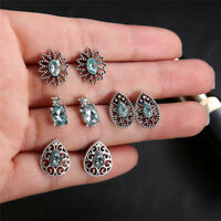 4Pairs Water Drop Crystal Zirconia Stud Earrings Women Boho Jewelry Earring JR