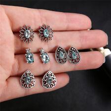 4Pairs/Set Water Drop Crystal Zirconia Stud Earrings Women Boho Jewelry Earring-