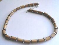 collier bijou perles tubes vintage argent beige rétro halskette necklace * 3864