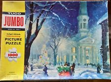 """Vintage TUCO 1000 pc Jigsaw Puzzle """"White Christmas"""" #2500-3, extra thick pieces"""