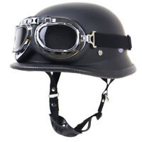 DOT German Style Motorcycle Half Helmet w/Goggles Chopper Scooter Street Bike