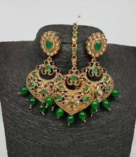 Indian Bollywood Oxidized/Antique Earrings with Maang Tikka Jewelry US seller