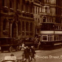 Antique 1920s RPPC Princes Street Edinburgh Car Cable Car Bus People Postcard