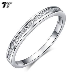 TT RHODIUM 925 Sterling Silver 2.5mm Anniversary Wedding Band Ring (RW46) NEW