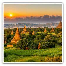 2 x Square Stickers 7.5 cm - Temples Bagan Myanmar Burma Cool Gift #3528