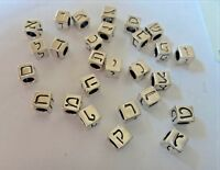 5.5mm Square Sterling Silver 3.5mm Hole HEBREW Alphabet Block Spacer Bead Charm