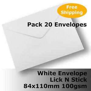 20 x Envelopes White Lick N Stick 84 x 110mm Banker Shape #E10AK #ACDD