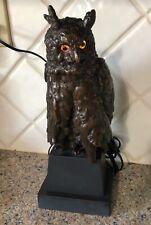 Rare Antique Vienna Bronze Owl Lamp 13� High