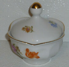 J L Menau Sugar Bowl Henneburg German Democratic Republic Porcelain Floral