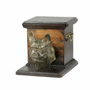 Urne Französische Bulldogge Kopf - 4090 French Bulldog Denkmal Statue Schatull