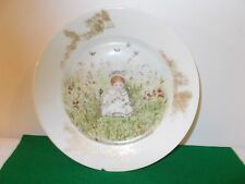Late 1800's Hand Painted Plate of Little Girl Sitting With Flowers, Signed