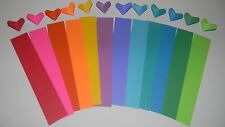 origami heart paper strips, 100 count rainbow multicolor
