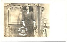 RPPC ~ Woman Posed ~ Back of Train Car 1915 World's Fair Special