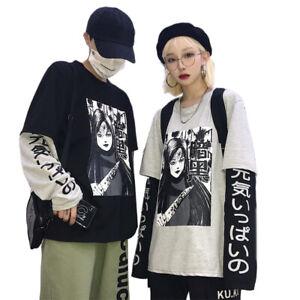 Harajuku Japanischer Anime Print Frauen Sweatshirt Fake 2 Pieces Loose StreetW3N