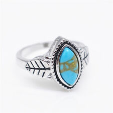 Antique Silver Natural Turquoise Anniversary Bride wedding Jewelry ring Size 7