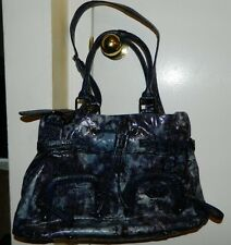 SHARIF Purple Blue Tie Dye Silver Tone Pleather Handbag with Bag