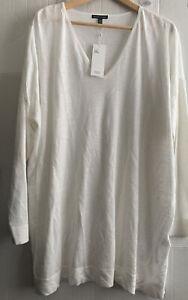 Eileen Fisher Org Cotton Silk White Long Sleeve VNK Tunic L/XL