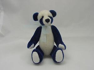 """World of Miniature Bears By Theresa Yang 4""""  Panda Bear Blue #872-BLUE CLOSING"""