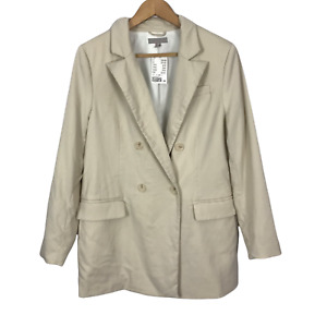 H&M Size Medium Cream Collared Long Sleeve Lined Double Breasted Blazer NEW