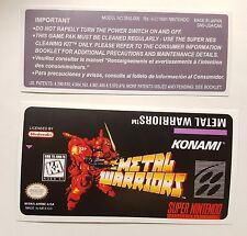 REPLACEMENT SNES CARTRIDGE STICKER LABELS FOR: METAL WARRIORS