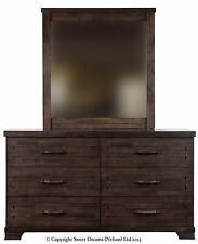 Sweet Dreams Brown Mozart Chopin Gershwin 6 Drawer Chunky Wooden Chest w/ Mirror