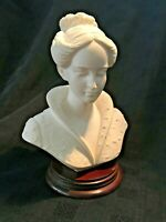 A. Giannelli Woman Bonded Alabaster Figurine on Wood Plinth 21cm