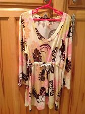 Me and Ko Cream/Pink/Brown/Gold Tunic Top Girls' L