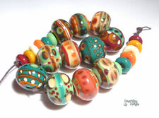 MAMBO Lampwork Beads Handmade Red Green Ivory Coco Brown Teal Big Organic (23)