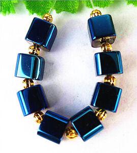 7mm 8Pcs Blue Titanium Crystal Cube Height Hole Pendant Bead BT90743
