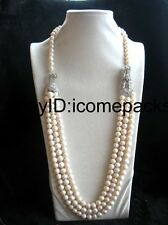 3rows freshwater pearl  white near round 8-9mm &dragon clasp  necklace 30-32""